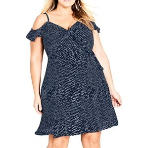 City Chic 16 Navy For Ruffle Wrap Dress